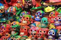 Colorful Mexican Day of the Dead Ceramic skulls, M