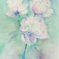 White Peony Bouquet Art Prints & Posters by Patricia Wilson