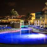 """Pool at night, Oyster Bay Beach Resort, St. Maarte"" by RoupenBaker"