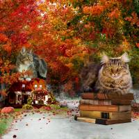 The Cat Guardians in Autumn Art Prints & Posters by Anne Vis