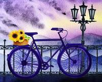 Bicycle With Basket And Sunflowers