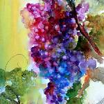 """""""Burgundy Grapes Red Wine Watercolor Painting"""" by GinetteCallaway"""