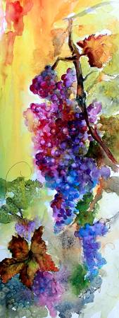 Burgundy Grapes Red Wine Watercolor Painting
