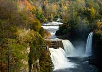 Three Watefalls at Ausable Chasm Autumn