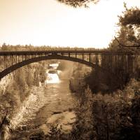 Arch Bridge over Ausable Chasm in Sepia Art Prints & Posters by Valerie Waters