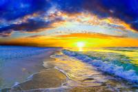 beautiful orange ocean sunrise waves photography