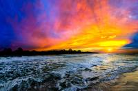 colorful red blue purple ocean sunset photography