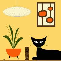 Cat on Tabletop with Mini Mod Pods Art Prints & Posters by Donna Mibus