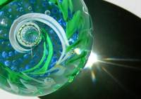 Blue Green Glass Abstract Swirl