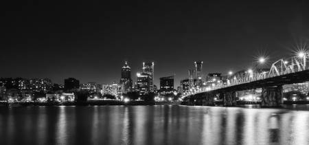 Portland at Night in Black and White