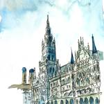 """Munich City Hall With Church Of Our Lady"" by arthop77"