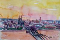 Cologne Skyline with Deutz Bridge and Rhine II