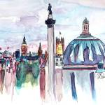 """London Skyline with Big Ben and Nelson Column"" by arthop77"