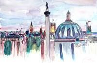 London Skyline with Big Ben and Nelson Column