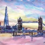 """London Tower Bridge With The Shard Watercolor Art"" by arthop77"