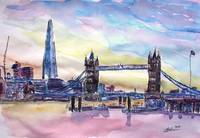 London Tower Bridge With The Shard Watercolor Art