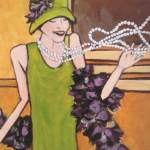 """roaring twenties - flapper - boa - betsy"" by traciebrownart"
