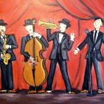 """jazz quartet - instruments - big band"" by traciebrownart"