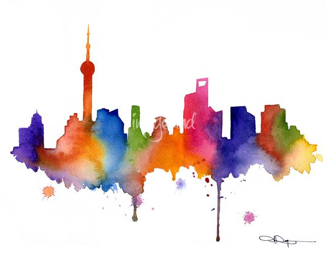 Bathroom wall art prints - Stunning Quot Shanghai Skyline Painting Quot Artwork For Sale On