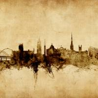 Newcastle England Skyline Art Prints & Posters by Michael Tompsett