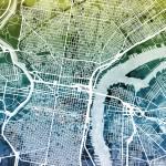 """""""Philadelphia Pennsylvania City Street Map"""" by ModernArtPrints"""