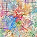 """Houston Texas City Street Map"" by ModernArtPrints"