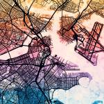"""Boston Massachusetts Street Map"" by ModernArtPrints"