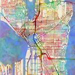 """Seattle Washington Street Map"" by ModernArtPrints"
