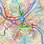 """Pittsburgh Pennsylvania Street Map"" by ModernArtPrints"