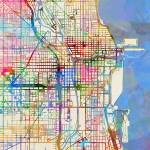 """Chicago City Street Map"" by ModernArtPrints"