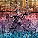"""Houston Texas City Street Map"" by ModernArtPrints"
