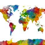 """Map of the World Map Watercolor"" by ModernArtPrints"