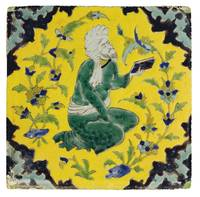 A SAFAVID CUERDA SECA POTTERY TILE, PERSIA, 18TH C