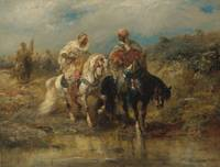 ADOLF SCHREYER 1828 - 1899 HORSEMEN AT A WATERING