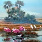 Backwoods Oasis-Roseate spoonbills