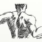 """Back Sketch of muscular male torso"" by DavidBleakley"