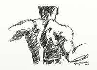 Back Sketch of muscular male torso