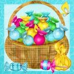 """Easter Candy Folk Art Whimsy"" by ReneeLozenGraphics"