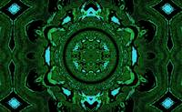 Lotus Mandala in  Green Blue and Black Pastels