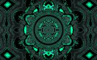Lotus Mandala in Light Green and Black Pastels