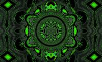 Lotus Mandala in Green and Black Pastels
