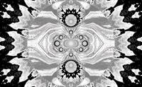 Lotus Mandala  in Black and White Pastels 1