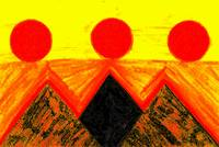 Pyramids Of Other Worlds In Orange and Yellow