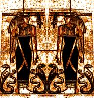 Egyptian Priests and Cobras in White and Gold I