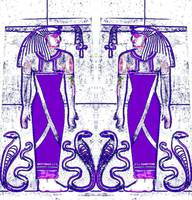 Egyptian Priests and Cobra White and Purple I