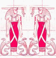 Egyptian Priests and Cobras In White and Rose Red