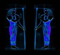 Ancient Egyptian Priests in Blue and Black I