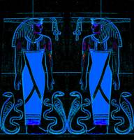 Ancient Egyptian Priests and Cobras in Blue and Bl