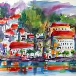 """Amalfi Coast Expressive Watercolor Painting"" by GinetteCallaway"