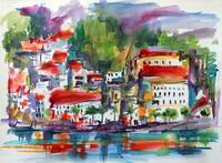 Amalfi Coast Expressive Watercolor Painting
